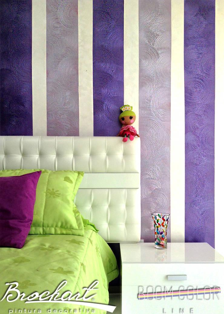 Técnica Rayas Chic ©: Paredes y pisos de estilo  por Brochart pintura decorativa