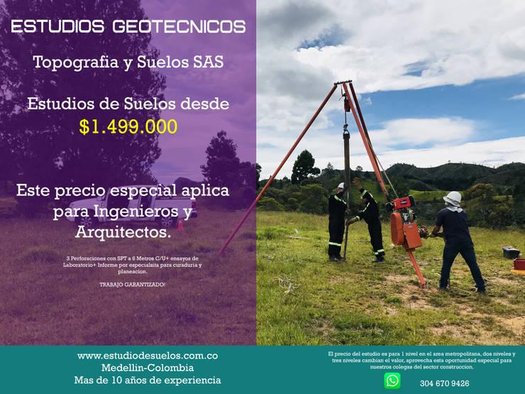 Estudio de suelos Medellin: Estudios y despachos de estilo  por Topografia y Suelos SAS, Tropical Arenisca