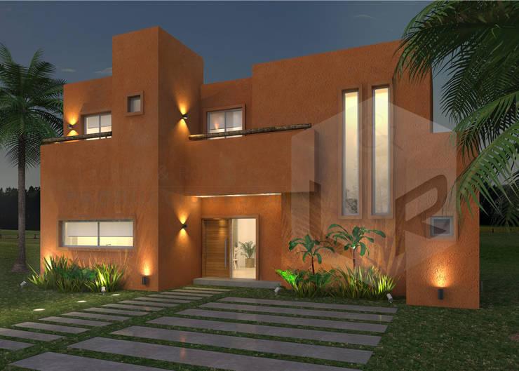 Render Exterior Frente Nocturno:  de estilo  por Laudato & Rodriguez | Renders 3D,