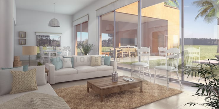 Render Interior | Living:  de estilo  por Laudato & Rodriguez | Renders 3D,