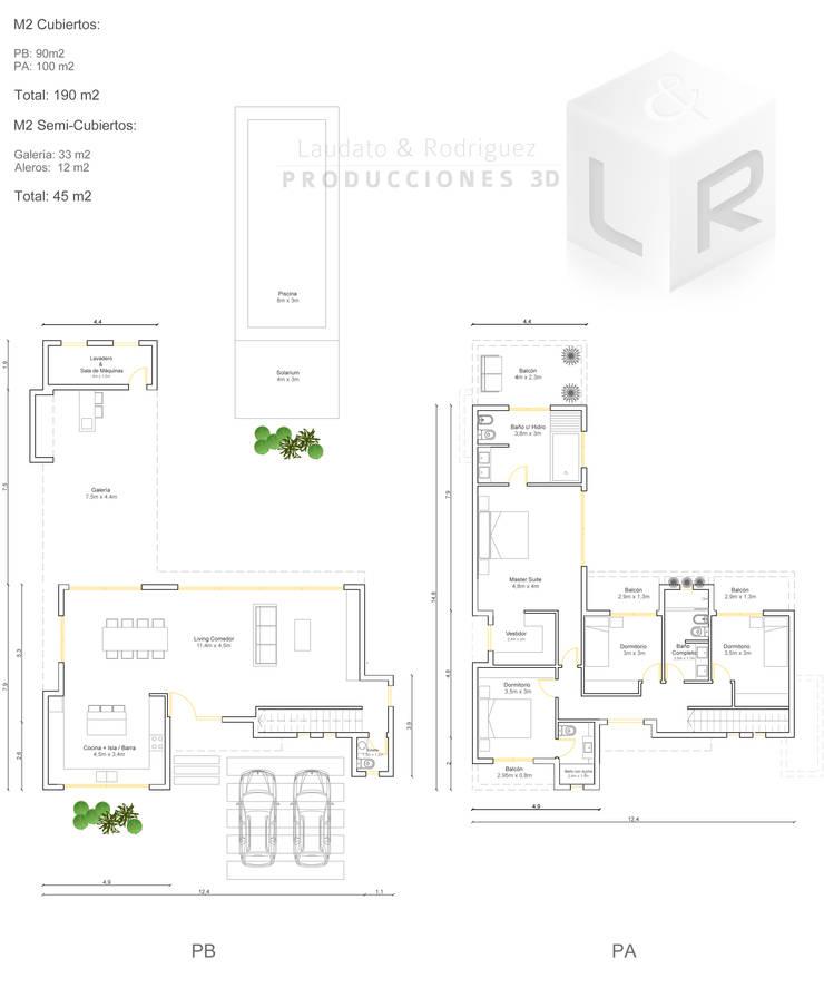Planos Anteproyecto:  de estilo  por Laudato & Rodriguez | Renders 3D,