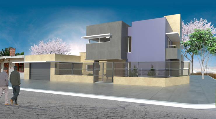 vistas desde calle , el proyecto total: Casas de estilo  por MVQ ARQUITECTOS,