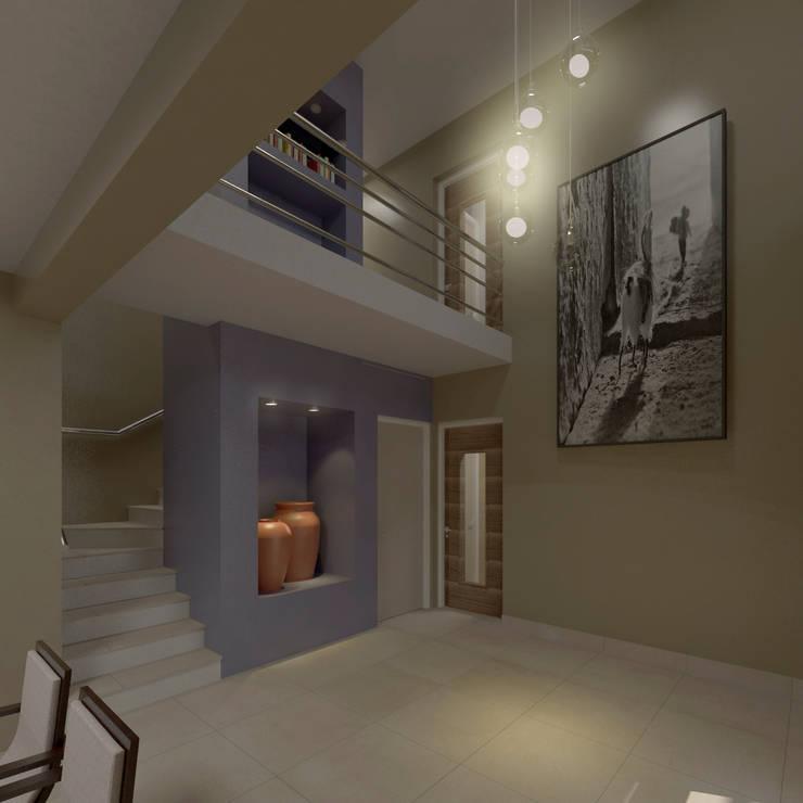 ingreso en doble altura: Pasillos y recibidores de estilo  por MVQ ARQUITECTOS,