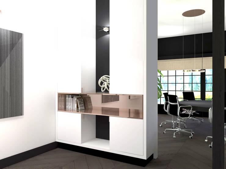 Ensuitekast:  Kantoor- & winkelruimten door VAN VEEN INTERIOR DESIGN, Modern Hout Hout