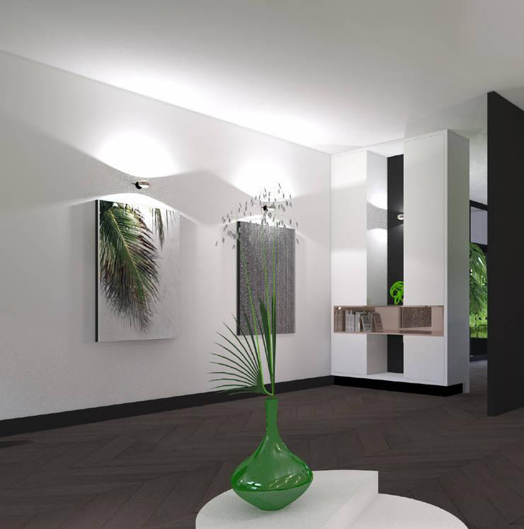 Ensuitekast links:  Kantoor- & winkelruimten door VAN VEEN INTERIOR DESIGN, Modern Hout Hout