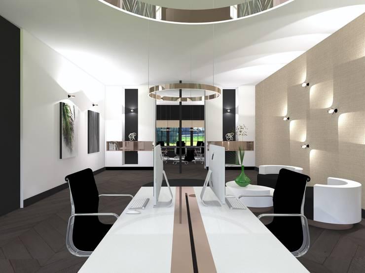 Bureau met kabelgoot:  Kantoor- & winkelruimten door VAN VEEN INTERIOR DESIGN, Modern Hout Hout