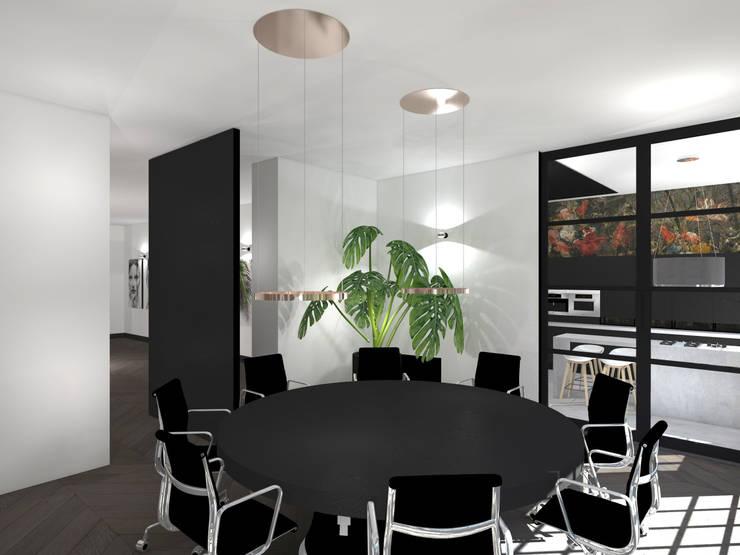 Vergaderruimte:  Kantoor- & winkelruimten door VAN VEEN INTERIOR DESIGN, Modern Hout Hout
