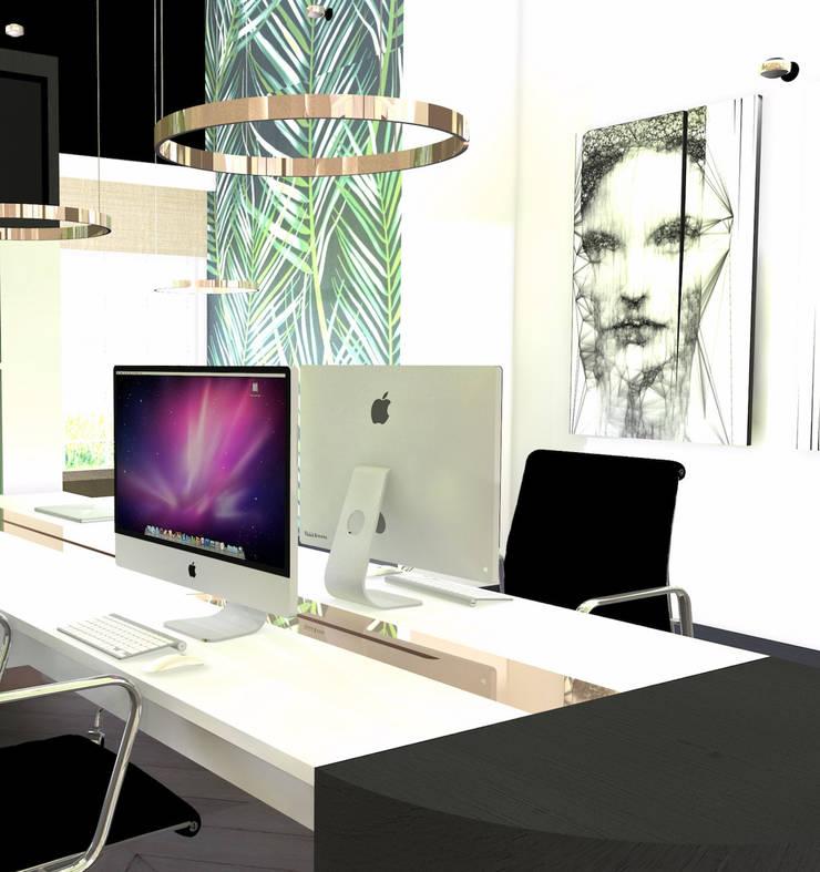 Bureau 4 personen:  Kantoor- & winkelruimten door VAN VEEN INTERIOR DESIGN, Modern Hout Hout