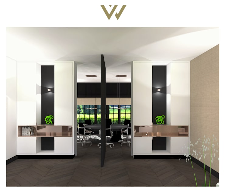 Ensuitekasten met taatsdeur:  Kantoor- & winkelruimten door VAN VEEN INTERIOR DESIGN, Modern Hout Hout