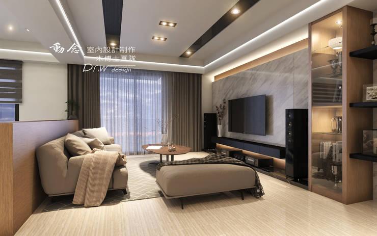 客廳/大理石/低調極簡的現代禪風:  客廳 by 木博士團隊/動念室內設計制作