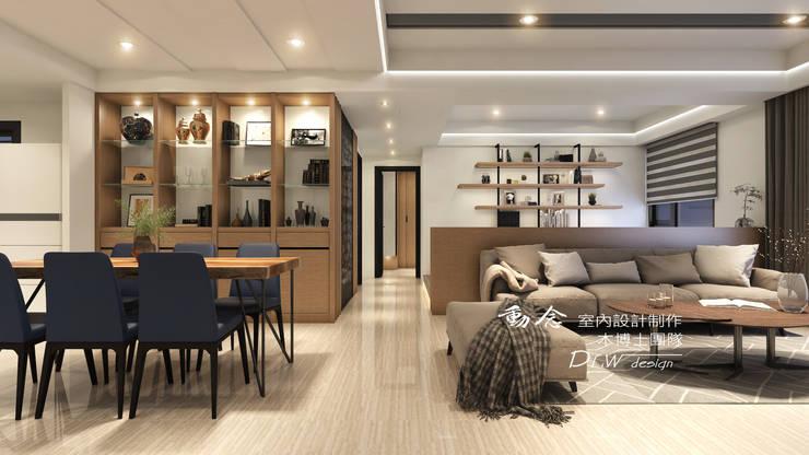 客廳/餐廳/沙發背牆/低調極簡的現代禪風:  客廳 by 木博士團隊/動念室內設計制作