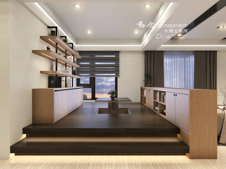 和室/鐵件/低調極簡的現代禪風:  書房/辦公室 by 木博士團隊/動念室內設計制作