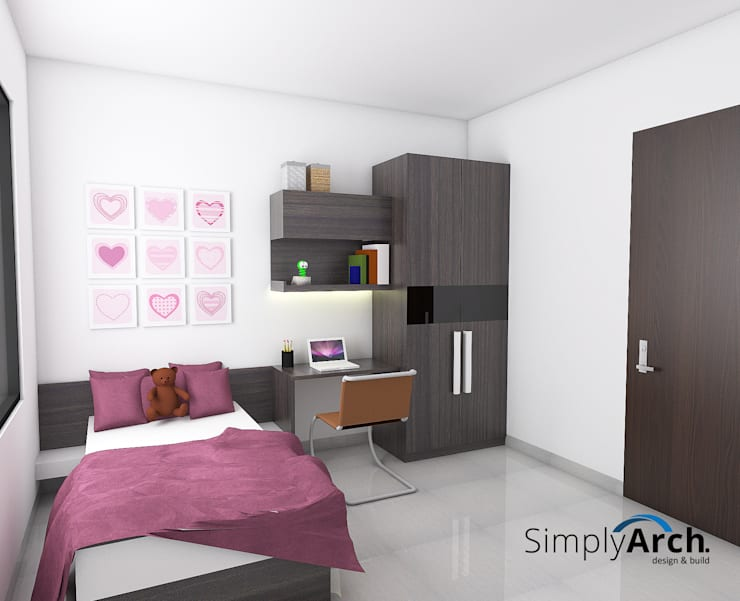 A-House Children Bedroom Wardrobe and Studying Table:  Bedroom by Simply Arch.