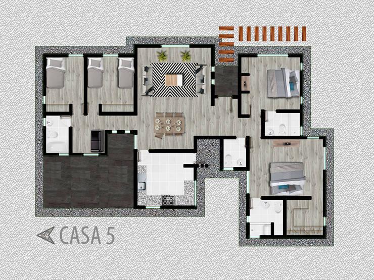 Casa modelo 5: Condominios de estilo  por R-Innovare