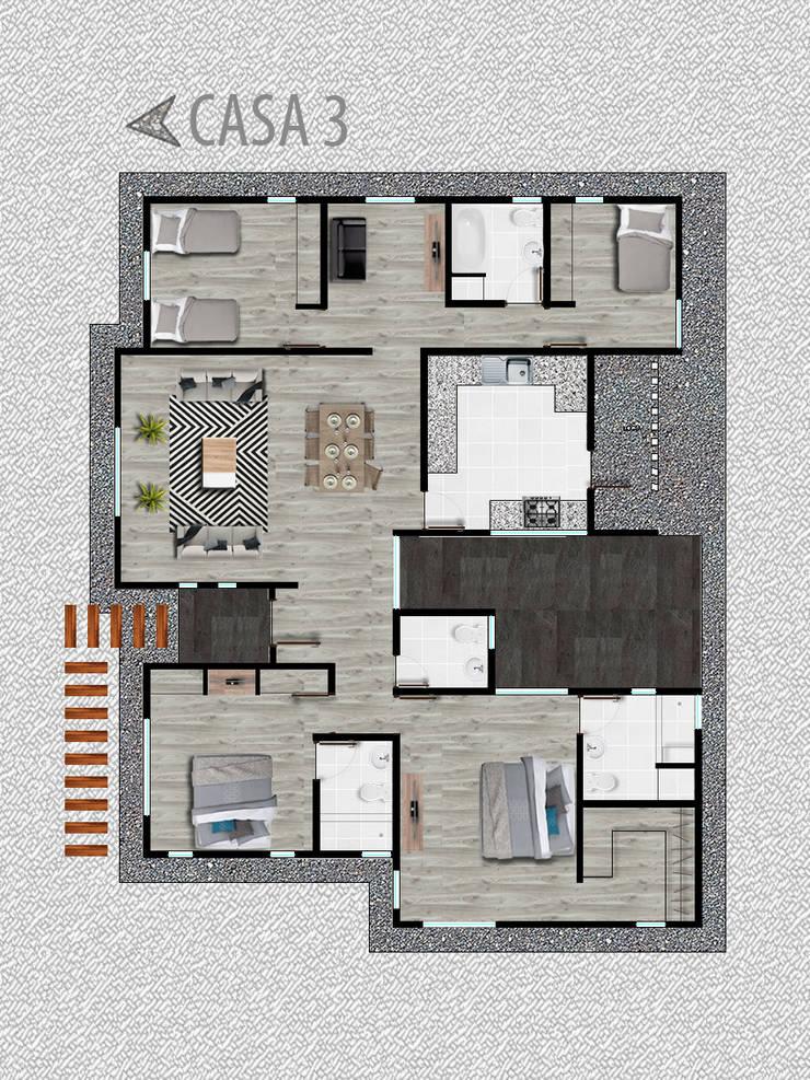Casa modelo 3: Casas unifamiliares de estilo  por R-Innovare