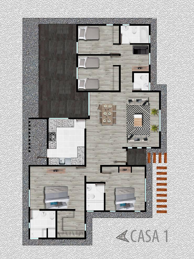 Casa Modelo 1: Casas unifamiliares de estilo  por R-Innovare