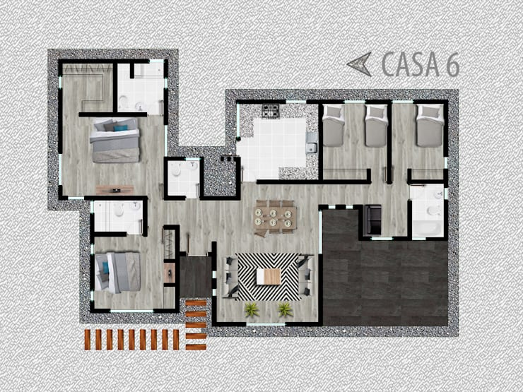 Casa modelo 6: Casas unifamiliares de estilo  por R-Innovare