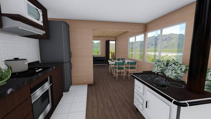 imagen 3d interior : Cocinas equipadas de estilo  por Ekeko arquitectura  - Coquimbo