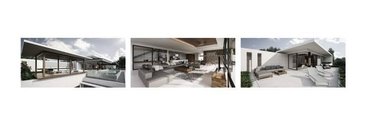 Simon Chapel Villa:  Ruang Keluarga by Monuspace Architect