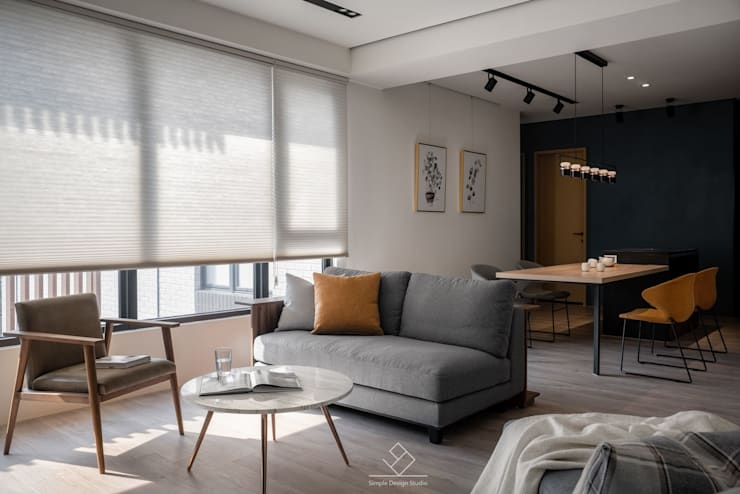 訂製沙發:  客廳 by 極簡室內設計 Simple Design Studio