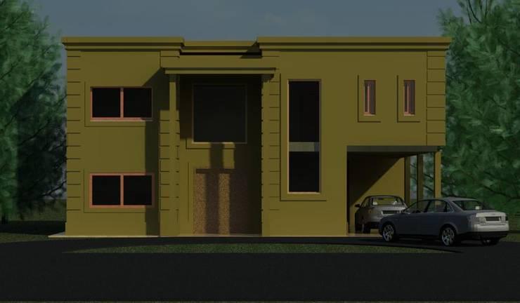"""Obra """"PUERTOS DEL LAGO"""": Casas unifamiliares de estilo  por R+ARQ,"""