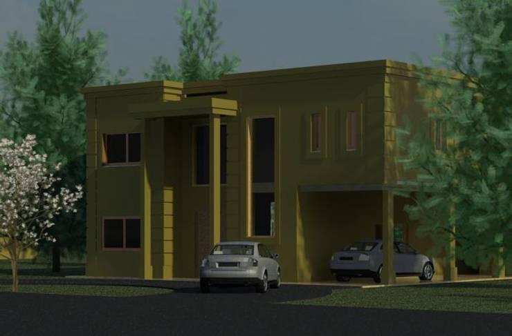 Obra <q>PUERTOS DEL LAGO</q>: Casas unifamiliares de estilo  por R+ARQ,