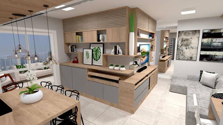 Sala de Jantar + Estar: Salas de jantar  por Fareed Arquitetos Associados