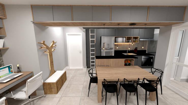 Sala de Jantar + Cozinha: Armários e bancadas de cozinha  por Fareed Arquitetos Associados