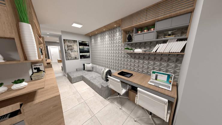 Sala de Estar + Office: Salas de estar  por Fareed Arquitetos Associados