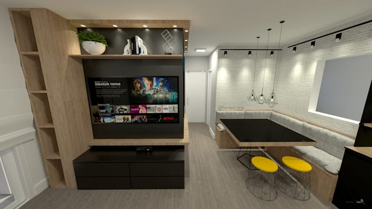Projeto Residencial - 54m²: Salas de estar  por Fareed Arquitetos Associados