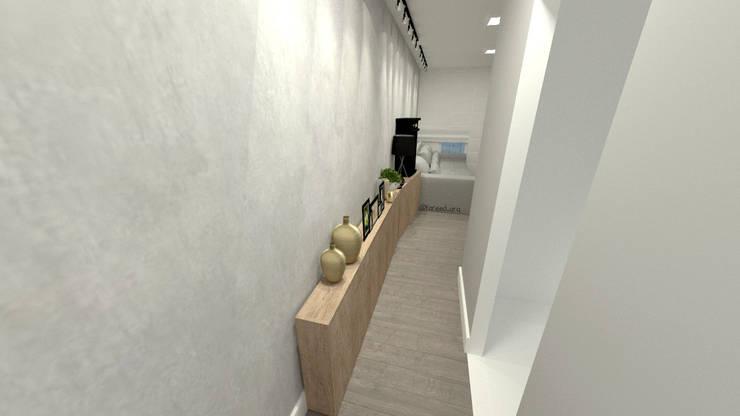 Projeto Residencial - 54m²: Corredores e halls de entrada  por Fareed Arquitetos Associados