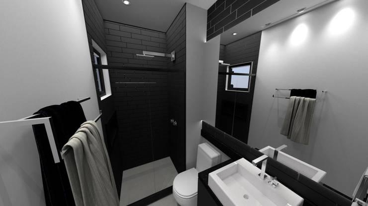 Projeto Residencial - 54m²: Banheiros  por Fareed Arquitetos Associados