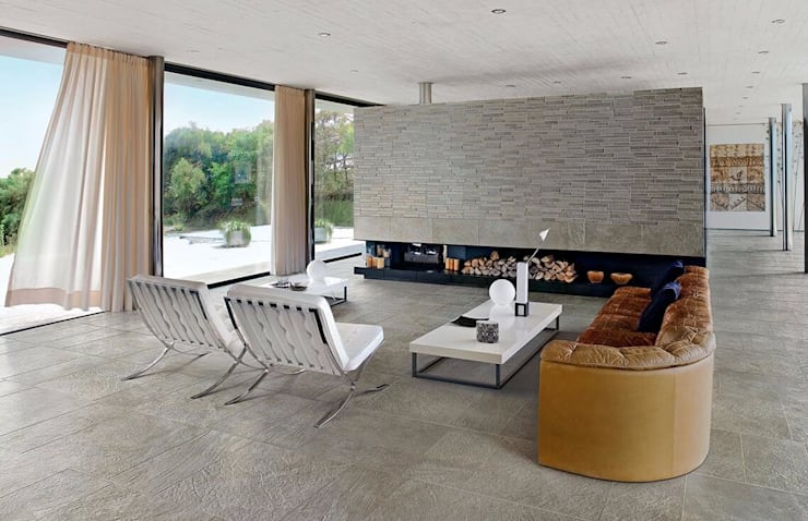 CERAMICHE瓷磚現代大理石品質,高端品質瓷磚:  客廳 by 北京恒邦信大国际贸易有限公司