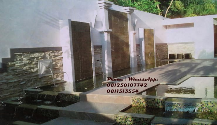 Spesialis jasa pembuatan Air mancur / water wall dan kolam hias koi part II:  Walls & flooring by TUKANG TAMAN SURABAYA - jasataman.co.id
