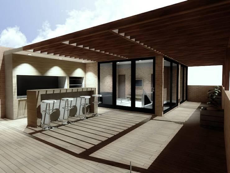 TERRAZA BBQ (DISEÑO) Balcones y terrazas de estilo moderno de Plano 13 Moderno