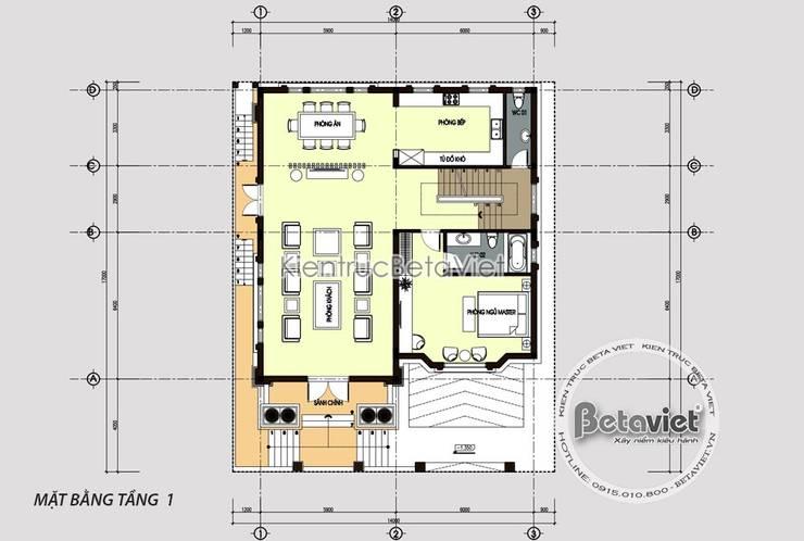 Mặt bằng tầng 1 mẫu biệt thự lâu đài kiểu Pháp đẹp lung linh (CĐT: Bà Huyền - Thái Nguyên) KT18077:   by Công Ty CP Kiến Trúc và Xây Dựng Betaviet