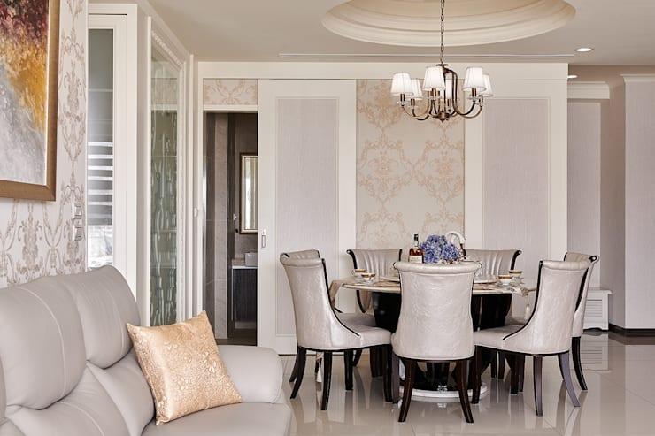 新古典元素的對稱與比例:  餐廳 by 趙玲室內設計