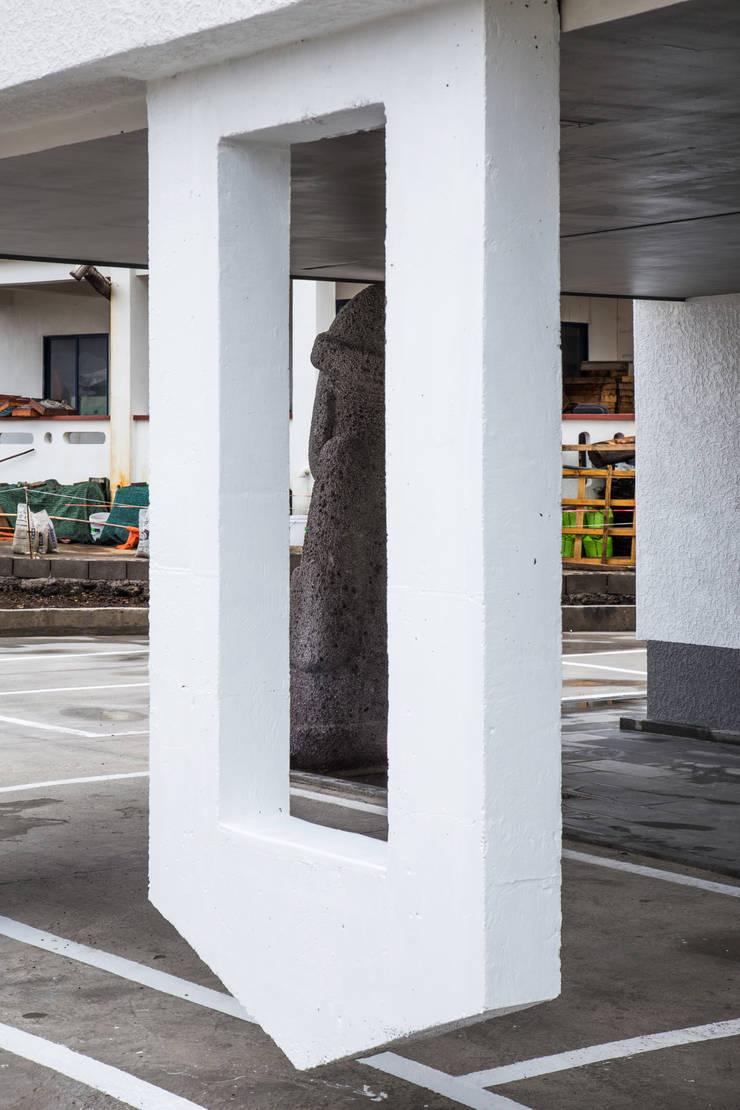떠있는 벽체와 돌하르방: 에이오에이 아키텍츠 건축사사무소 (aoa architects)의  다가구 주택,모던 철근 콘크리트