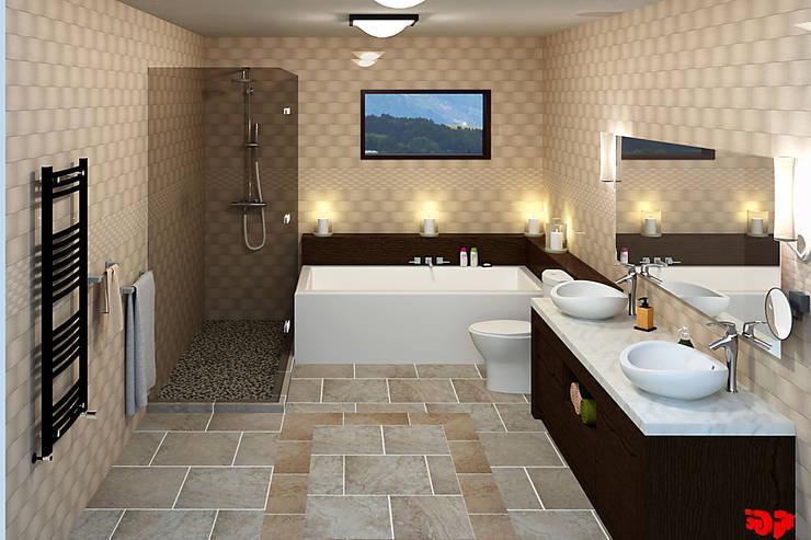 Moderne badkamer, overzicht.:  Badkamer door 3DDOC, Modern