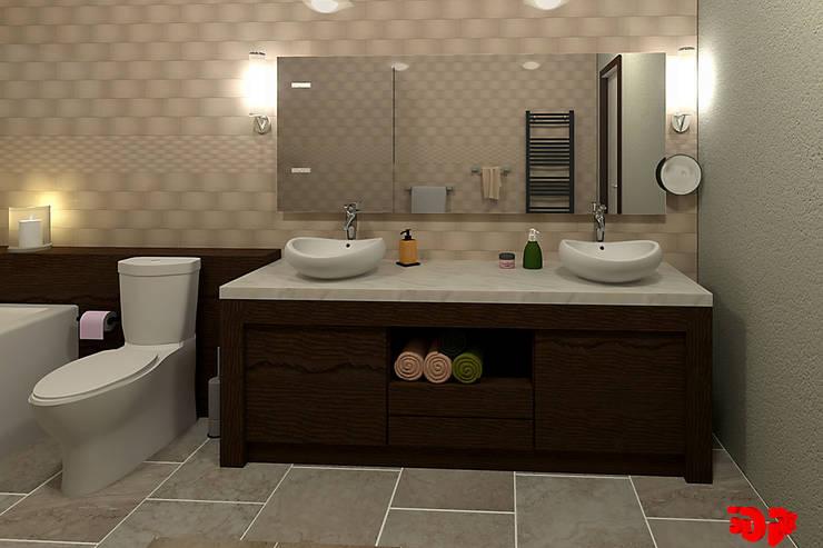 Moderne badkamer, badmeubel.:  Badkamer door 3DDOC, Modern
