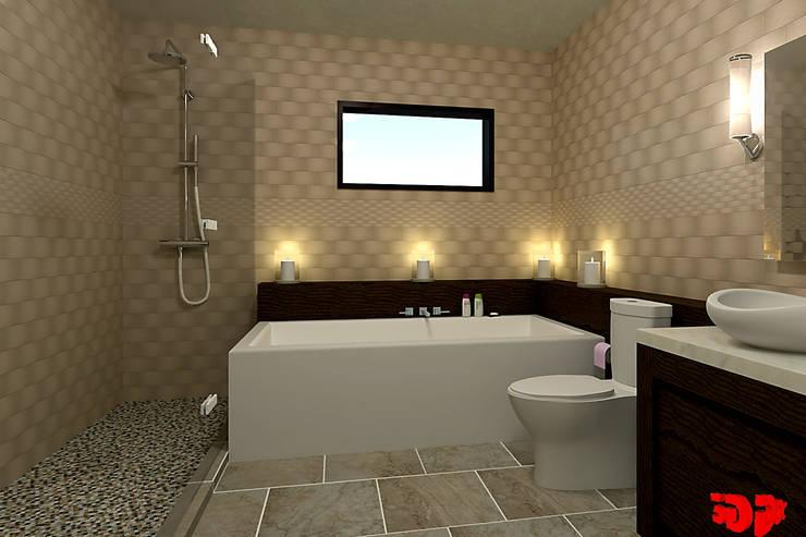 Moderne badkamer, zicht op het bad.:  Badkamer door 3DDOC, Modern