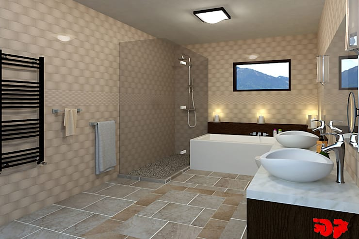Moderne badkamer, zicht op douche.:  Badkamer door 3DDOC, Modern