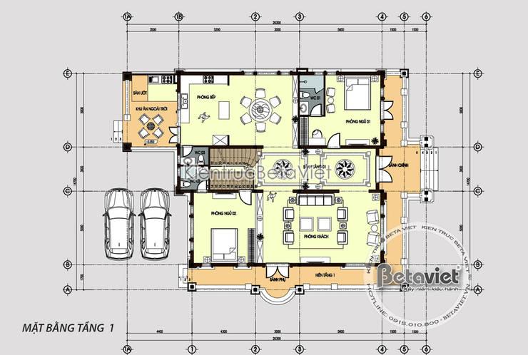 Mặt bằng tầng 1 mẫu biệt thự 2 tầng phong cách châu Âu đặc trưng (CĐT: Ông Thủy - Phú Thọ) KT18078:   by Công Ty CP Kiến Trúc và Xây Dựng Betaviet