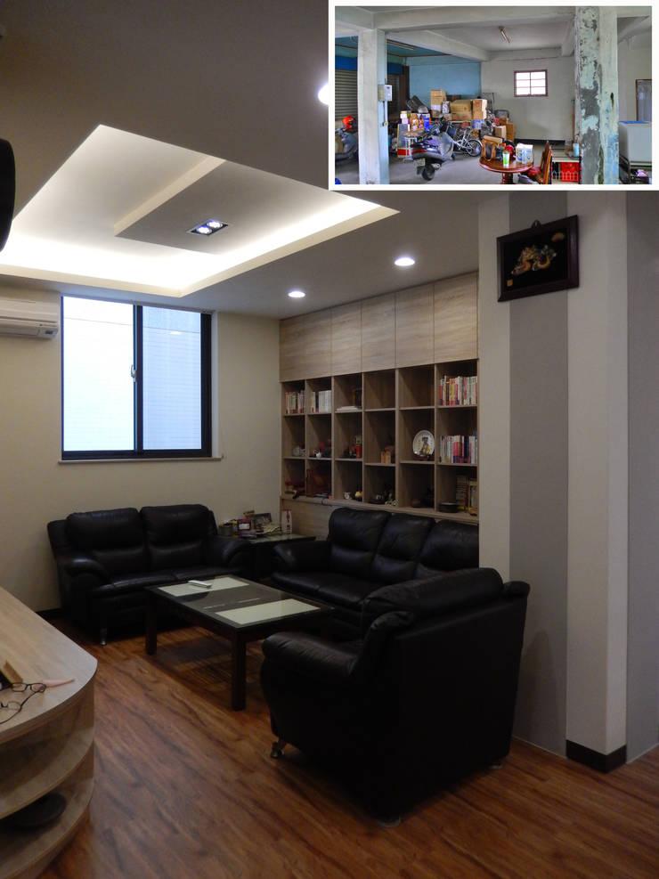 客廳/歐式系統家具/日式人文/老屋翻新:  客廳 by 木博士團隊/動念室內設計制作