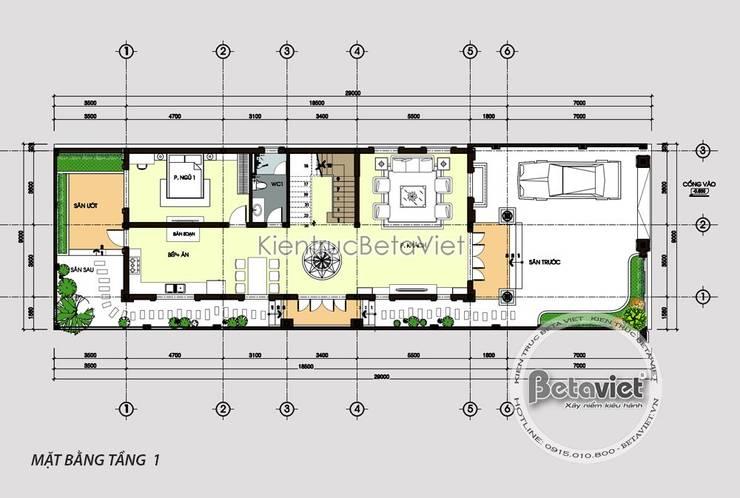 Mặt bằng tầng 1 mẫu biệt thự phố 3 tầng mặt tiền 10m cực đẹp (CĐT: Ông Thế - Nam Định) KT18081:   by Công Ty CP Kiến Trúc và Xây Dựng Betaviet