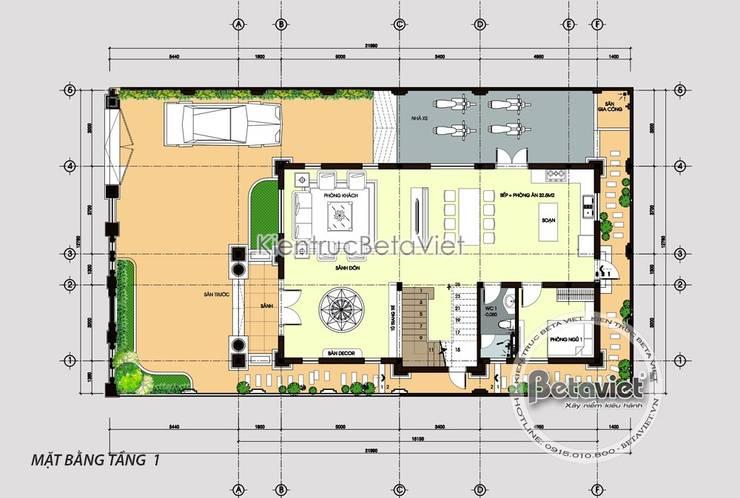 Mặt bằng tầng 1 biệt thự 3 tầng mặt phố đẹp hoàn hảo (CĐT: Bà Xoan - Hưng Yên) KT18073:   by Công Ty CP Kiến Trúc và Xây Dựng Betaviet