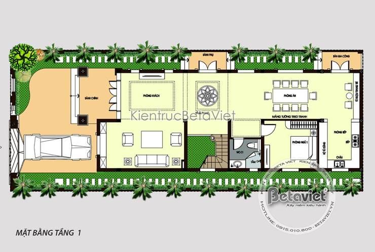 Mặt bằng tầng 1 biệt thự 4 tầng Tân cổ điển siêu lung linh (CĐT: Ông Thanh - Hà Nội) KT18074:   by Công Ty CP Kiến Trúc và Xây Dựng Betaviet