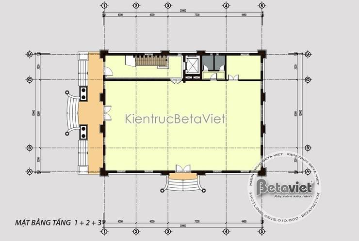 Mặt bằng tầng 1 siêu biệt thự kết hợp kinh doanh và nhà ở (CĐT: Bà Hà - Hưng Yên) KT18024:   by Công Ty CP Kiến Trúc và Xây Dựng Betaviet