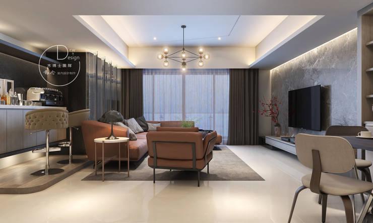 客廳/大理石/歐式系統傢俱/烤漆玻璃/奢華風:  客廳 by 木博士團隊/動念室內設計制作