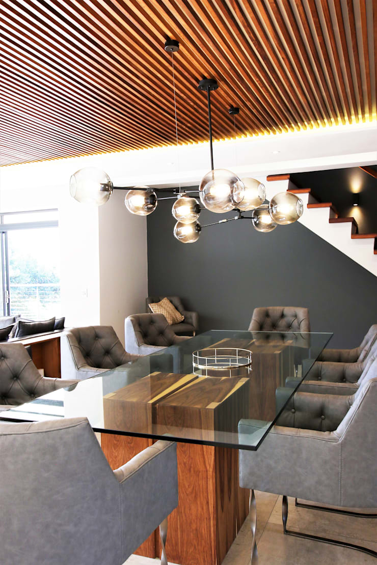 Formal Dining room:  Dining room by JSD Interiors, Modern Wood Wood effect